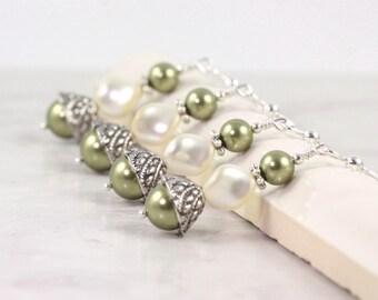 Cream Pearl Earrings Bridal Earrings Sage Green Jewelry Moss Green Earrings Bridesmaid Jewelry Wedding Earrings Ivory Pearl Earrings