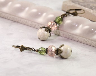 Woodland Earrings Coral Pink Mint Green Boho Jewelry Rustic Riverstone Chartreuse Fall Fashion