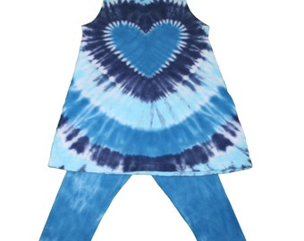 Tie Dye Tunic and Leggings Set in In Blues for Girls