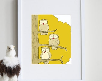 Owl kids decor, owl nursery 8 x 10 art print - available in different sizes