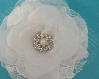 Bridal Hair Flower,  Ivory Lace, Organza and Tulle Rose Hair Clip K061, bridal hair accessory