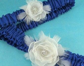 Cobalt Ivory Organza Feather Rose Wedding Garter Set  C181 - bridal garter accessory