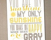 you are my sunshine printable typography poster, nursery decor, Printable art, nursery wall art, nursery poster, printable 8x10 - sunshine