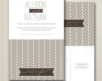 wedding invitation with perforated rsvp postcard - herringbone.