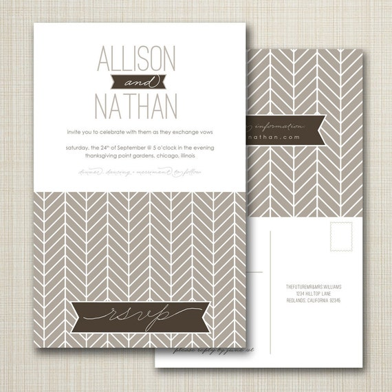 Items Similar To Wedding Invitation With Perforated Rsvp Postcard Herringbo