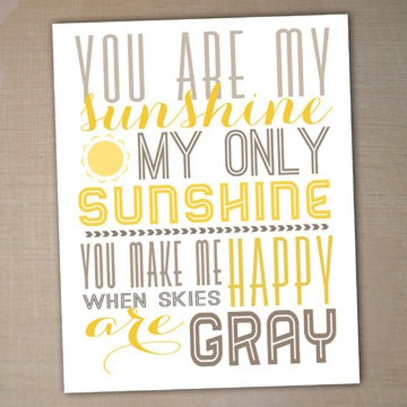 Ordinaire You Are My Sunshine Printable Typography Poster, Nursery Decor, Printable  Art, Nursery Wall Art, Nursery Poster, Printable 8x10   Sunshine