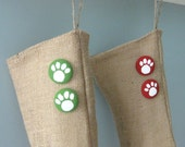 Burlap Christmas Holiday Pet Stocking with Your Choice of Paw Print Buttons
