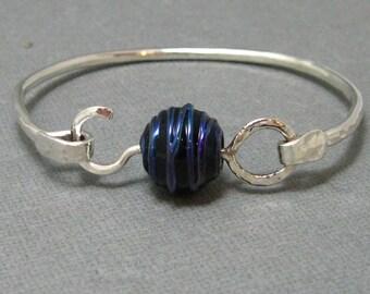 Midnight Blue Metallic and Sterling Silver Handmade Artisan Bangle Bracelet by Liz Blanchflower