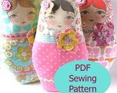 PDF Sewing Pattern - Matryoshka Doll with Flower Embellishments Sewing Pattern
