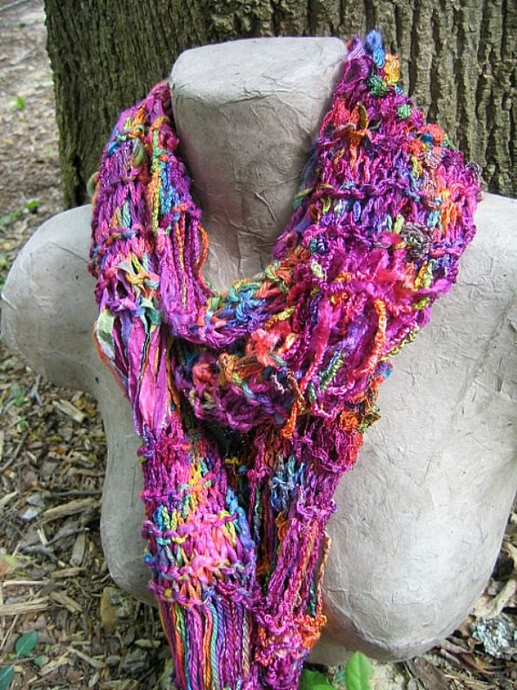 Hand Knit Summer Scarf - Bird Of Paradise