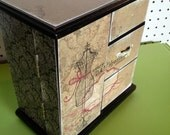 Refurbished Vintage Jewelry Box- Black dressform with pink interior, lots of storage