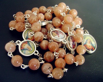 Nice Orange Moonstone Love Seven 7 Sorrows Of Mary Rosary Necklace medal catholic