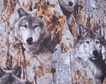 """Wolves in Trees Scene -  Animal Totem - 14"""" Pillow Cover With Zipper Closure"""