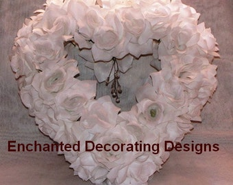 15in Wedding Decoration Silk Flower White Open Rose Hanging Heart