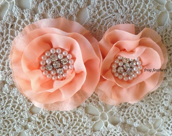 FLOWERS-Rhinestone and Pearl Center PEACH--set of 2-4 inches wide