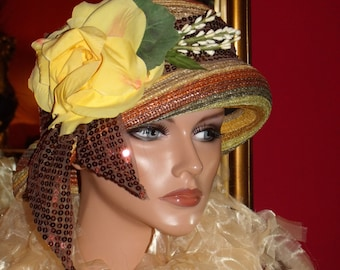 Derby Church  Hat Tea Party  Flapper Hat Cloche  Natural Straw Downtown Hat