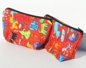 Dogs and Cats Red Zippered Pouch