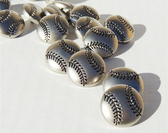 Silver Baseball or Softball Buttons with Shanks by Buttons Galore