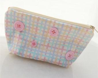 Pink Buttons Zippered Pouch