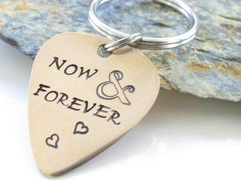 Guitar Pick Keychain, Customized, Hand Stamped Bronze