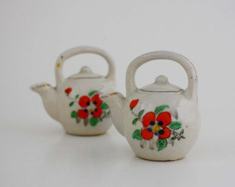 Teapot Salt and Pepper Shakers with Flowers