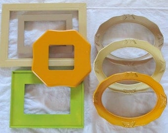 JAUNE  assorted picture frames--  instant collection--  7 frames total (assorted sizes)