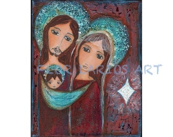 White Star Nativity - Folk Art  PRINT from Painting (8 x 10  inches print) by FLOR LARIOS