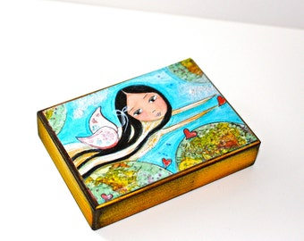 Give Love Fairy - Aceo Giclee print mounted on Wood (2.5 x 3.5 inches) Folk Art  by FLOR LARIOS
