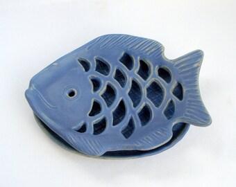 Blue stone glaze Soap dish fish shape Made to order