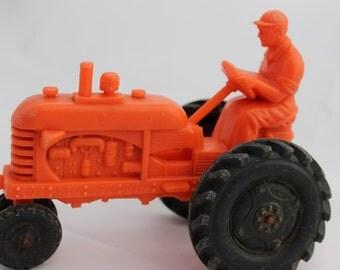 Vintage Tractor Barr Rubber Sandusky Ohio Orange Plastic Farmer Driving a Tractor Antique Toy Tractor Blaze Orange Tractor