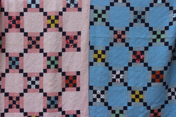 Pair of Quilts Pink and Blue Feedsack