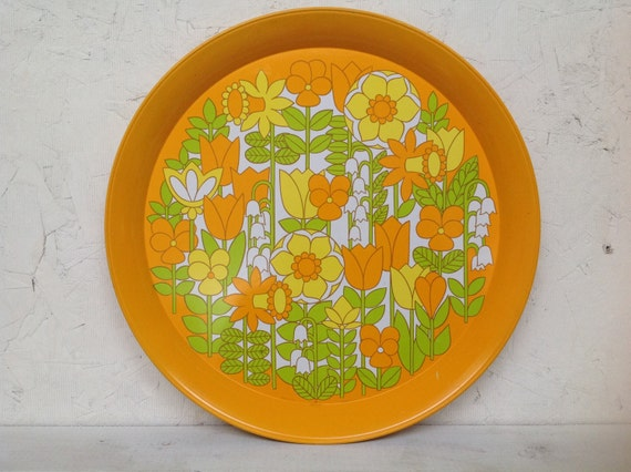 vintage neon flower tray . florescent lilies and daffodils and tulips . perfect for spring and summer parties . super mod