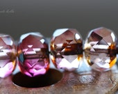 SHIRLEY TEMPLE .. 10 Premium  Picasso Czech Glass Rondelle Beads 6x8mm (3239-10)
