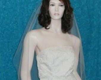 Super Sheer  One Tier Bridal veil  fingertip length with plain cut raw edge Traditional Cut