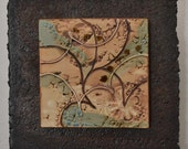 Ceramic Tile Wall Plaque (neutral colors, beige, light blue, floral) - Meagan Chaney Gumpert  (03-13)