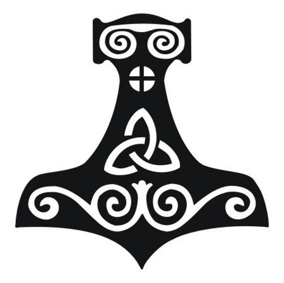 Viking Mjolnir Thor S Hammer Black Vinyl Decal