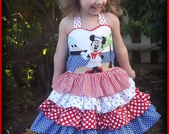 Minnie Mouse Disney Cruise Ruffle Dress Size 1 2 3 4 5 6 7 8
