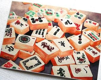 PRINT Mahjong Tiles ACEO Giclée Fine Art Print 2.5x3.5 inches