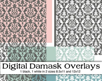 Digital Damask Overlay Pk. 3. Instant Download. Digital Scrapbooking. Personal and Limited Commercial Use.