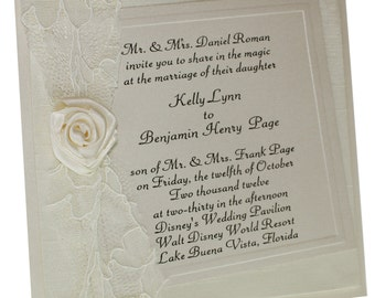 Lace Splendor -  Lace Wedding Invitation - Boxed Invites -  Vintage Glam - Vintage Wedding -   Wedding -  Ivory Invitations -  Set of 100