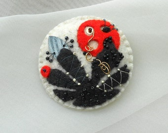 Felt Pin -   Contemporary Styled Flowers - Red - Black - Heather - Off  White  - Organic Shapes