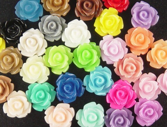 Cabochon Flower 40 Resin Round Rose Flower 10mm CHOOSE from 31 COLORS Choices (1017cab10m1)