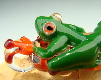 Glass Tree Frog Pendant Focal Lampwork Boro Bead Sun Catcher Totem VGW KT (made to order)