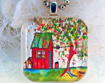Garden Shed Tree, Glass Tile,  Art Pendant and Necklace, 2013