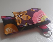 Multicolor Flower Purple Pink Brown Fabric Chapstick Case Cozy USB Keychain