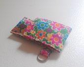 Rainow Flower Multicolor Fabric Chapstick Case Cozy USB Keychain