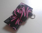 LOVE heart black pink red Valentine's Fabric Chapstick Case Cozy USB Keychain