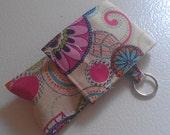 Pink Blue Purple Multicolor Flower Print Fabric Chapstick Case Cozy USB Keychain