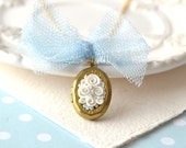 Small locket necklace - white rose - flower jewelry
