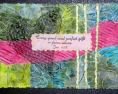 Valentine's Day Mail Heart  Fabric Quilted Art  Post Card Every Perfect Gift Is From Above